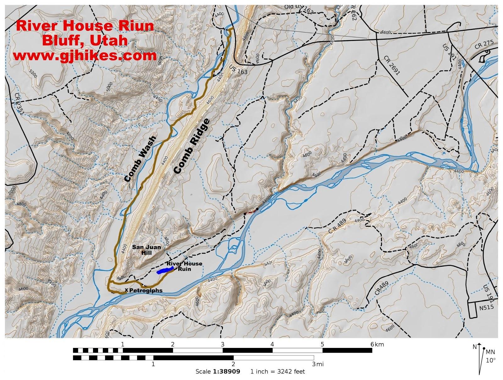 San Juan River Utah Map.Gjhikes Com River House Ruin