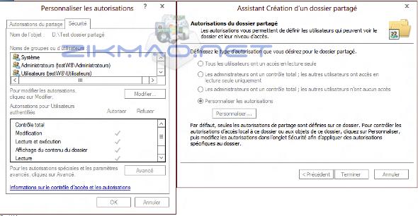 autorisation d'un dossier partagé Windows 8