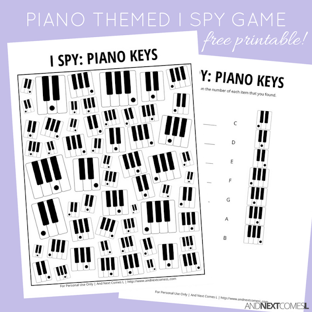 Free piano keys music themed I Spy game for kids from And Next Comes L