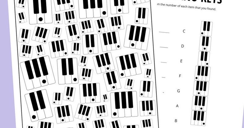 photo regarding Printable Piano Keys identified as Piano Keys Themed I Spy Recreation Cost-free Printable for Little ones And