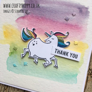 Make a gorgeous magical rainbow unicorn card using Aqua Painters from Stampin' Up!