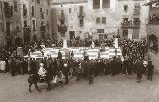 Ajedrez viviente en Santpedor en 1962