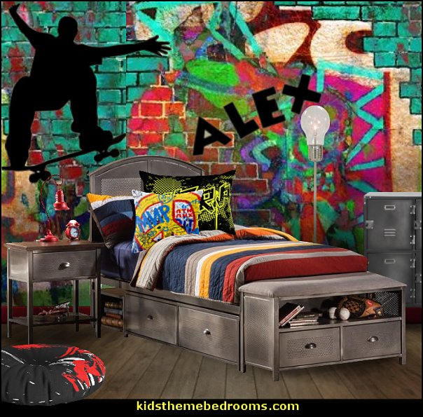 skateboarder bedroom decorating   Graffiti wall murals - Urban style punk theme bedroom ideas - skateboarding theme bedroom decorating -  Urban wall Murals - graffiti wallpaper murals - graffiti wall designs - graffiti bedrooms furniture - graffiti wall decal