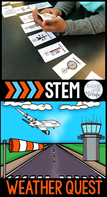 STEM Quest for elementary students - a highly engaging activity that involves incredible problem-solving and collaboration. Kids complete tasks leading to displays where they use clues to discover the lock code to open a box. After opening that last box they earn materials for a STEM challenge. This one is all about the weather with matching weather instruments with descriptions, completing math problems, and using weather idioms. What a fabulous hands-on activity for your weather unit!