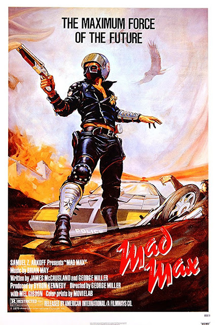 "Cartaz promocional do filme ""Mad Max"" de 1979."