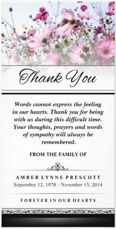 beautiful pink wild flower 4x8 vertical sympathy thank you card front and back