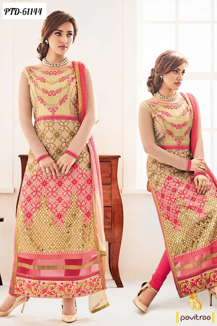 Neha Sharma Style beige color bollywood salwar suit online shopping at pavitraa fashion