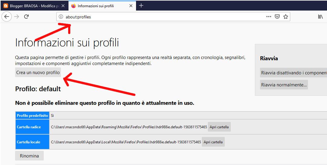 Creare un nuovo profilo Firefox