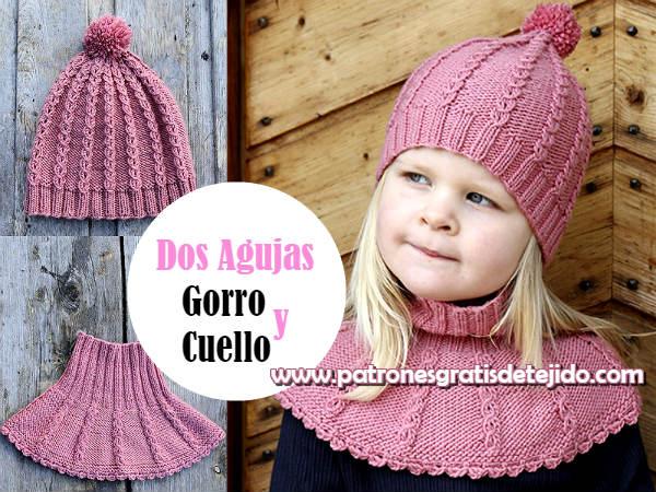 1e100c187 Hermoso conjunto de gorro y cuello para niñas, para tejer con dos agujas o  palitos, con explicación en español y patrones