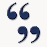 Blue icon of quotation marks