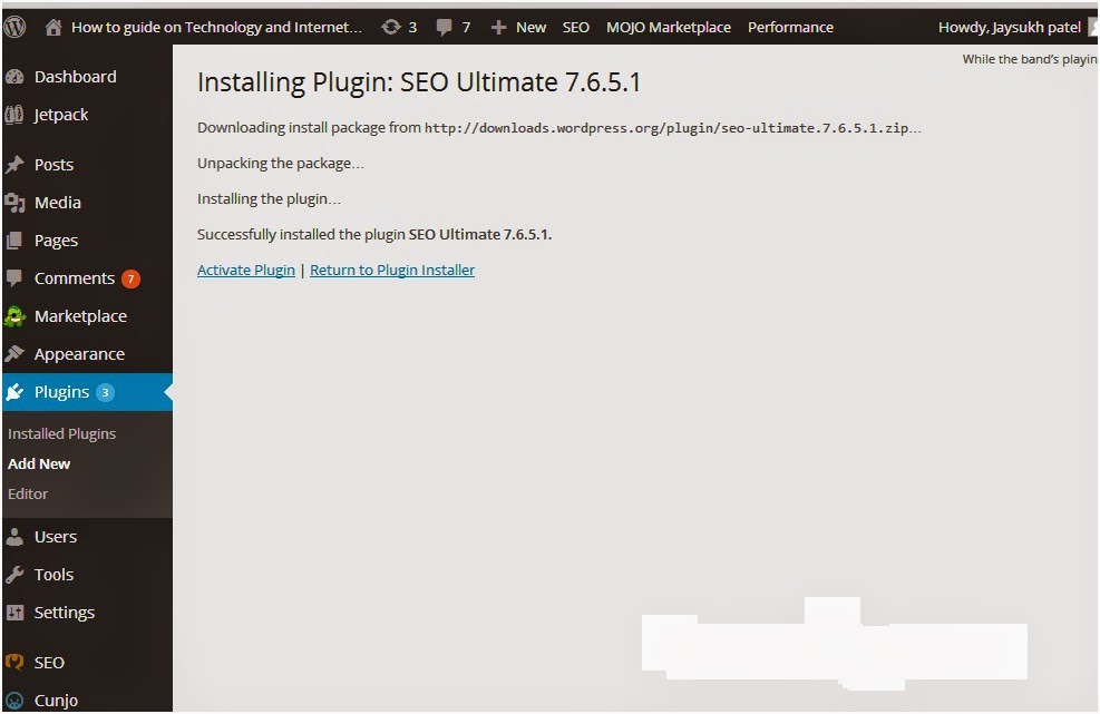 5 Activate plugins screen