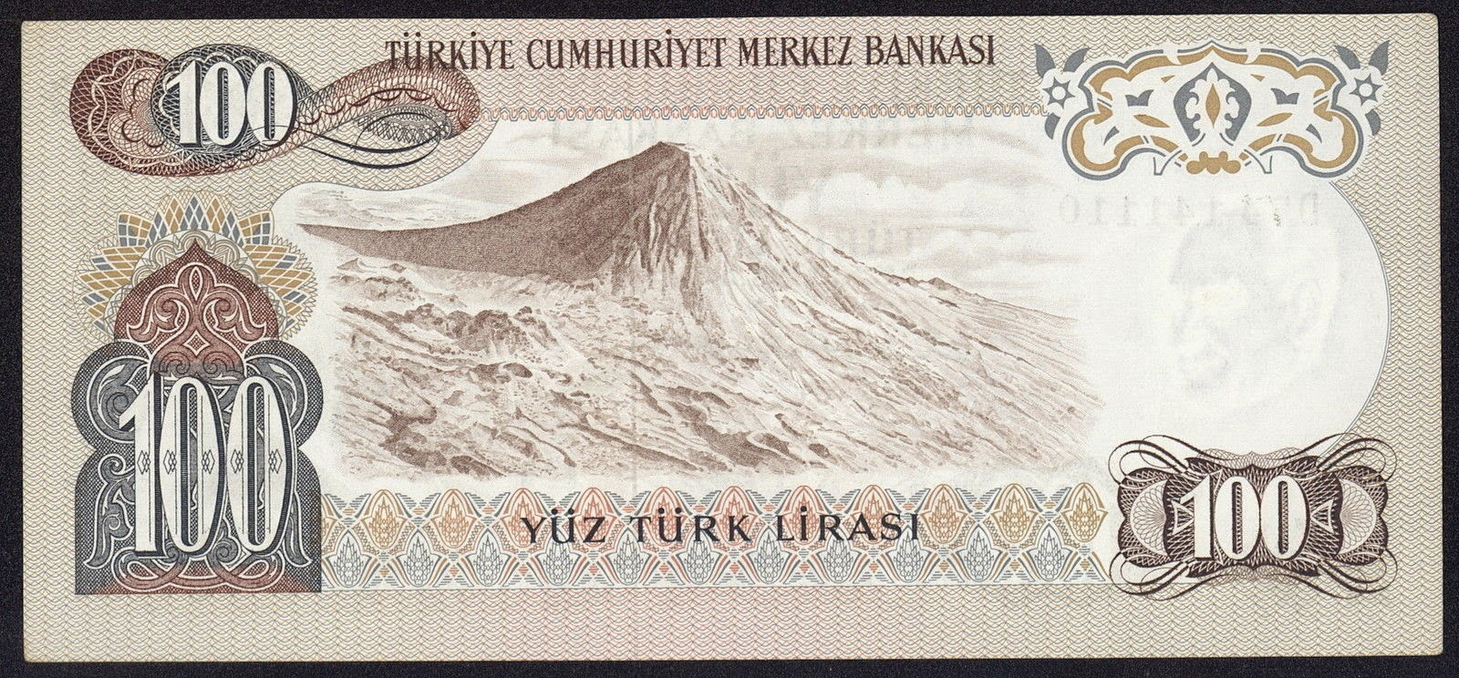"Turkey currency money 100 Türk Lirasi ""Turkish Lira"" note, Mount Ararat in Ağri"