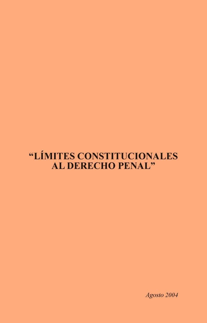 Límites constitucionales al derecho penal