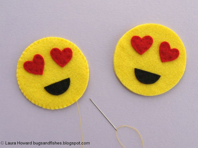 sewing felt heart-eye emojis