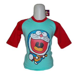 Kaos Raglan Anak Karakter Doraemon 2 Biru Tosca