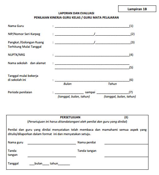 Laporan dan evaluasi PK Guru Kelas