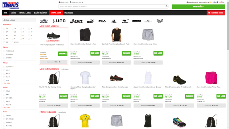 best sneakers 778fe 38dab Moda esportiva boa e barata  World Tennis Mega Leilão