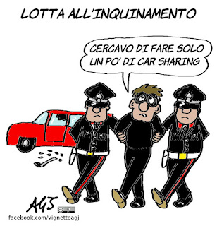 car sharing, lotta all'inquinamento, città vivibili, umorismo, satira, vignetta