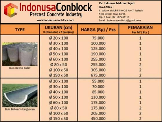 harga buis beton gorong gorong murah belah