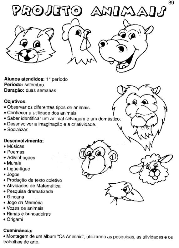 Projeto Animais Para A Educação Infantil Espaço Educar