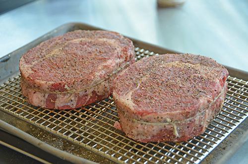 Certified Angus Beef Brand ribeye steaks from Food City dry brining.