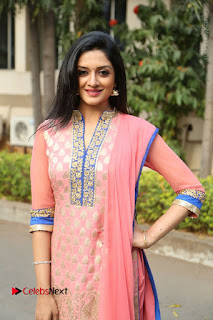 Actress Vimala Raman Stills in Beautiful Pink Salwar Kameez at (ONV) Om Namo Venkatesaya Press Meet  0146.JPG