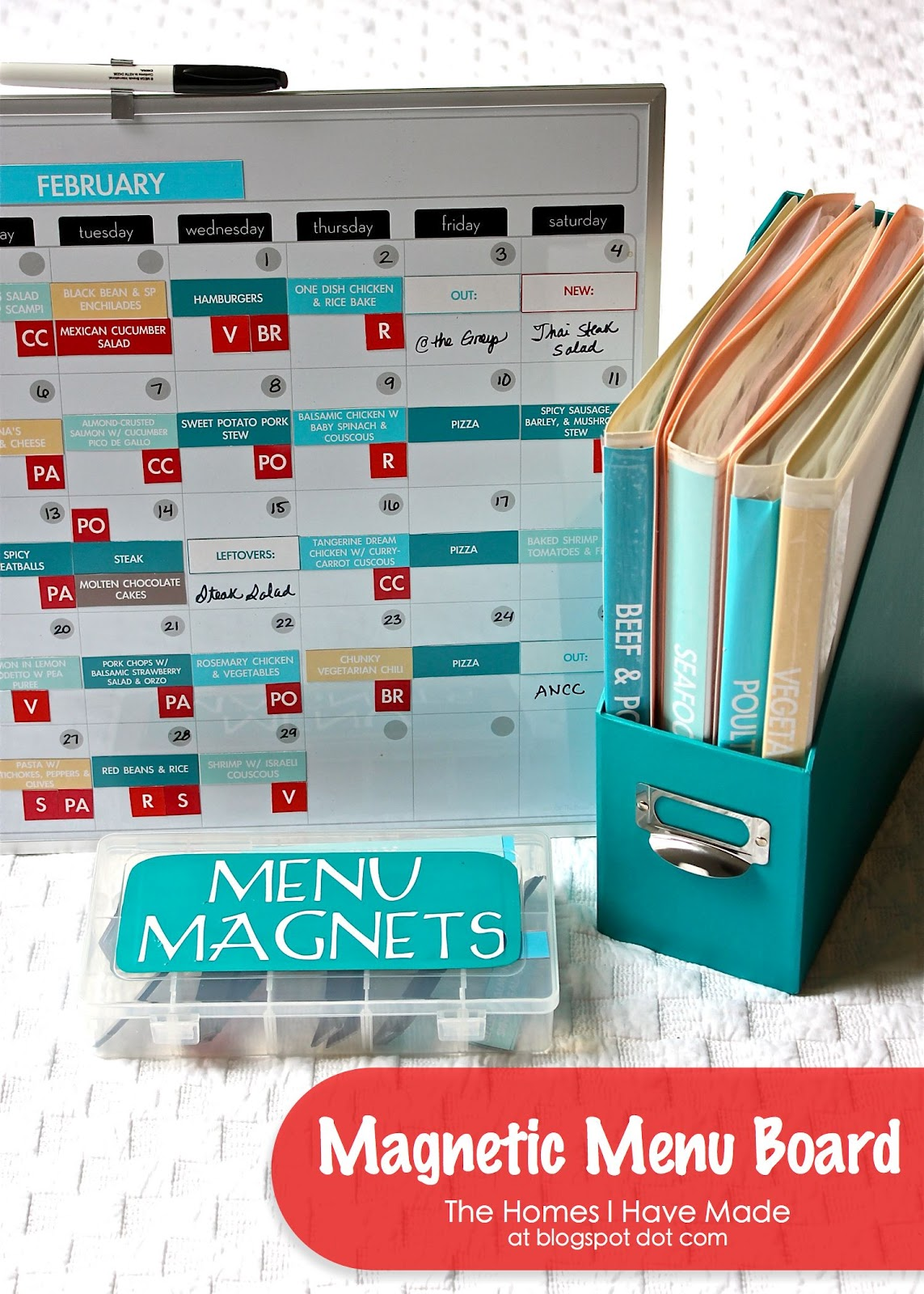 Super-cute magnetic menu board from Mom with a Prep's Menu Planning Challenge