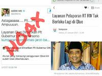 Hoax PLT Gubernur DKI Pak Soni mencabut layanan Qlue