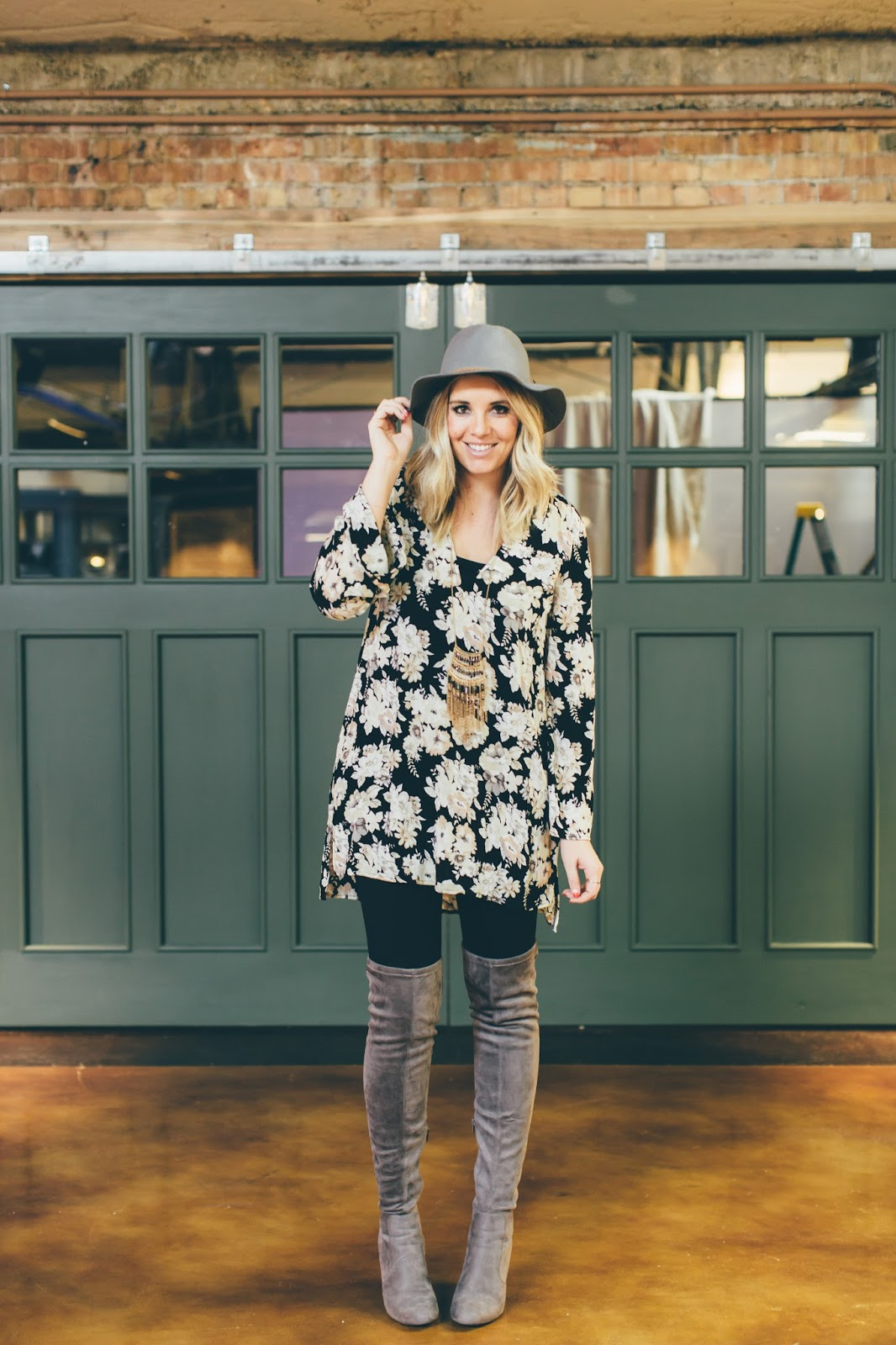 Goldies, Utah Fashion Blogger, Floral Tunic, Thigh High Boots