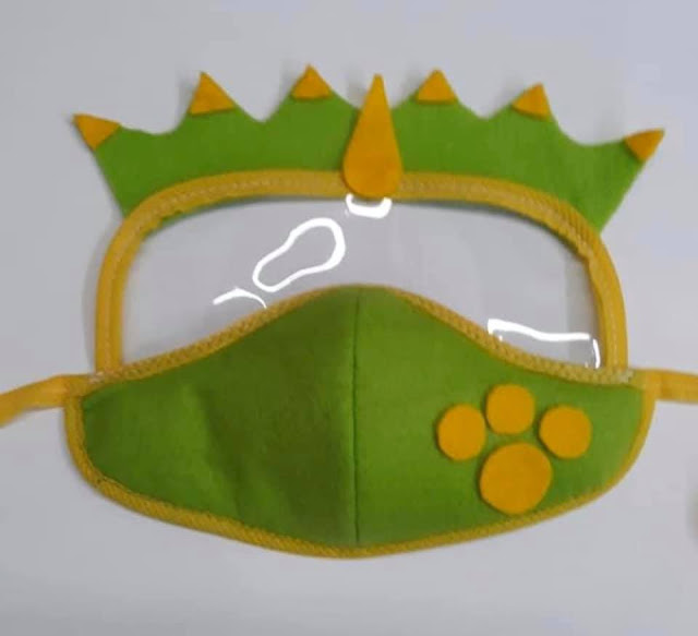 Máscara de Proteção Infantil Com Viseira de Dinossauro