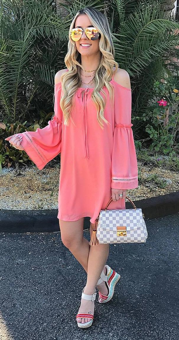 stylish summer outfit: dress + bag