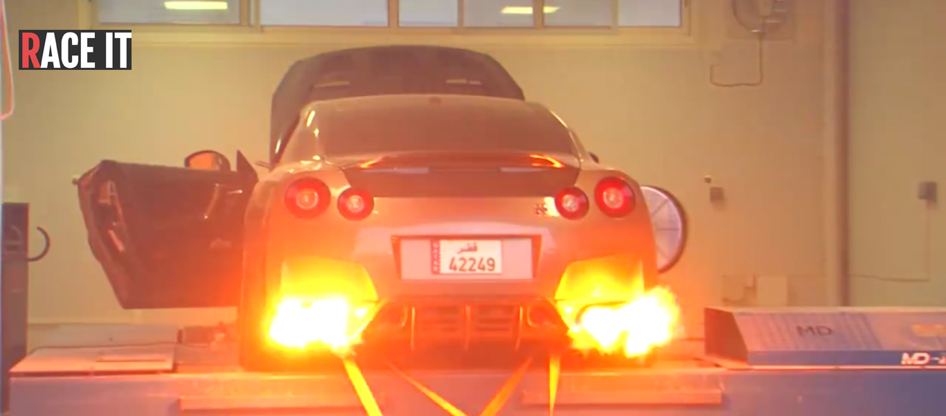 Nissan GT-R bursts into flames in Al Anabi dyno tuning at