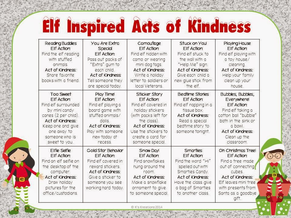 http://www.teacherspayteachers.com/Product/Elf-Inspired-Acts-of-Kindness-1586663
