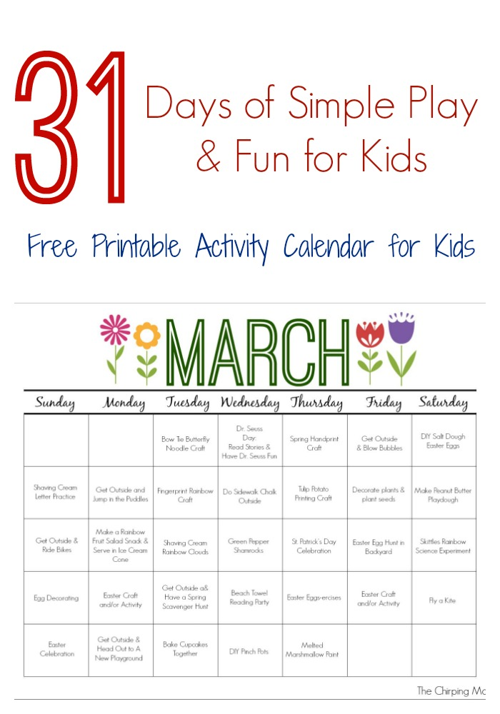 Calendar Activities Printables : March printable activity calendar for kids the chirping moms