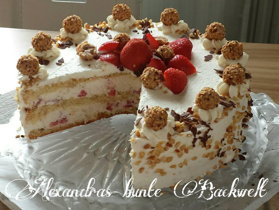 Erdbeer-Giotto-Sahne Torte  Erdbeer-Giotto-...