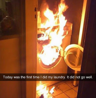 Washing machine on fire- Today was the first time I did my laundry. It did not go well.