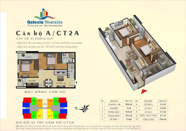 Mặt bằng căn hộ A tòa CT2A chung cư Gelexia Riverside