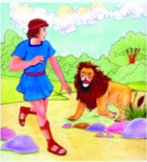 After take out the thrown from the Lion's paw the slave returns to the cave.