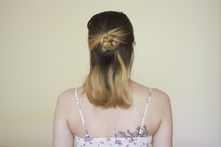medium hair  bun braid hairstyle tutorial