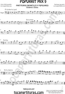 Mix 9 Partitura de Fagot El Cocherito Leré Infantil, En la Nieve, Pin Pon, En tu camino Popurrí Mix 9 Sheet Music for Bassoon
