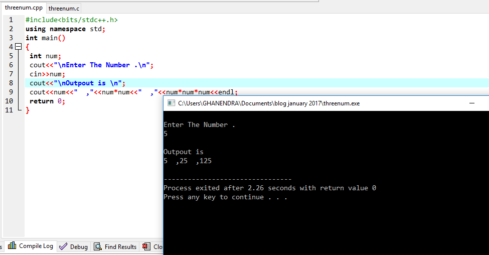 C++ Program To Read Integer (N) And Print First Three Powers (N^1,N^2,N^3)