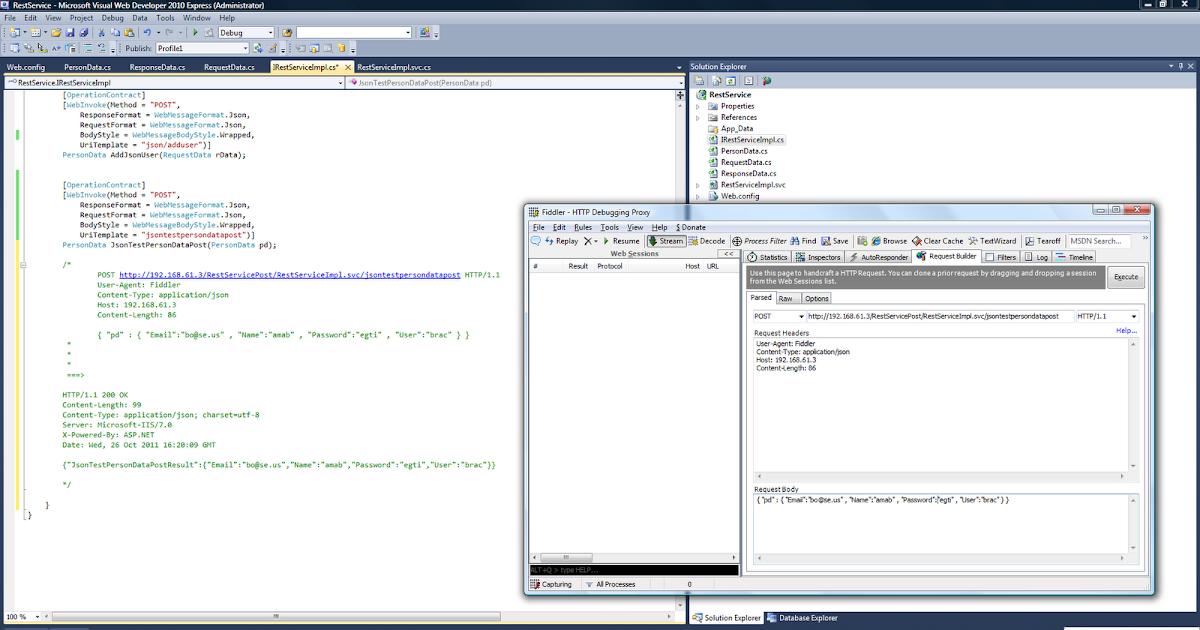 Android , Java , Linux , C#: Step 6 : WCF REST & FIDDLER