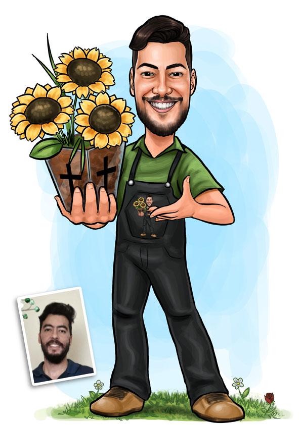 caricatura jardineiro