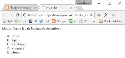 order List di Html type A kapital