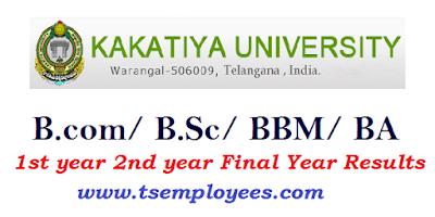 Kakatiya University Degree Results 2017 BA BCOM BSC BBM