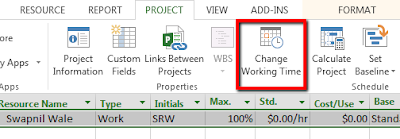 Add Holidays in MS Project