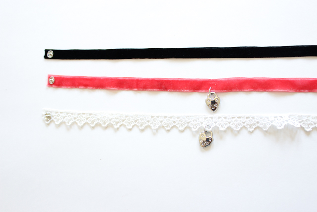 DIY velvet charm chokers