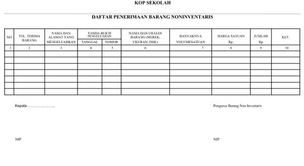 Daftar Penerimaan Barang Non Inventaris Docx