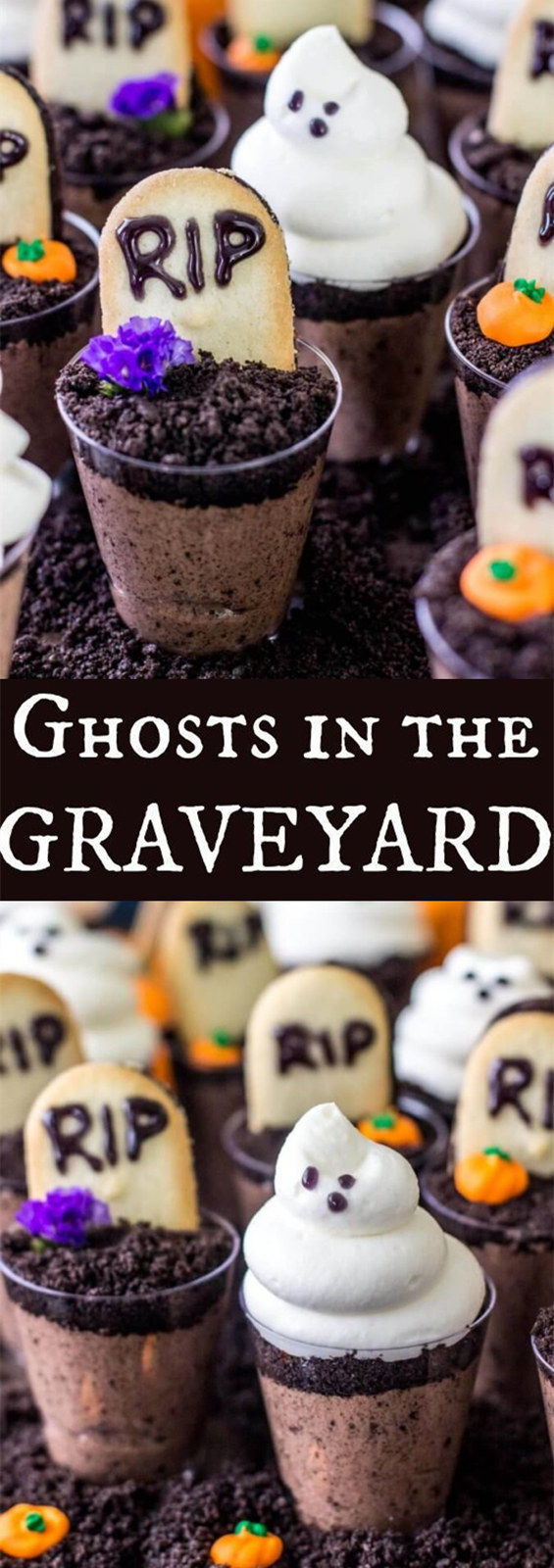 Ghosts in the Graveyard Halloween Dessert Shooters