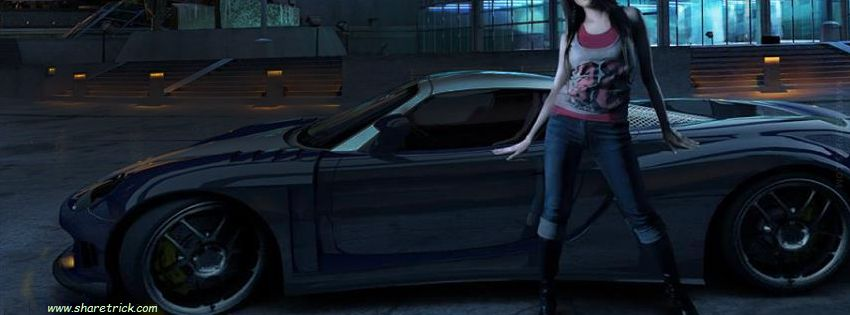 Girl with wonderful car Facebook Cover picture is one of the coolest timeline banner photos for girls and their FB accounts plus other Social Profiles
